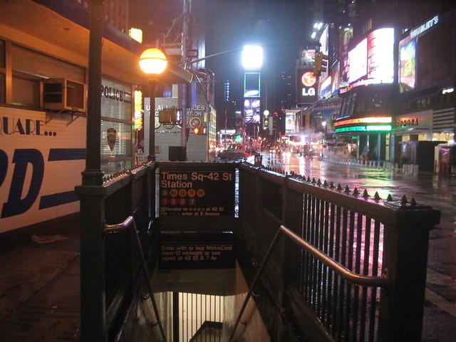 Times Sq-42 St subway entrance at night | This is Times ...