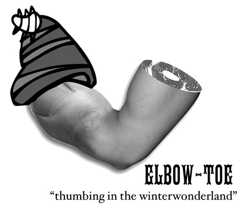 "ELBOW-TOE ""thumbing in the winterwonderland"" Sticker 