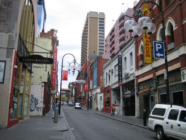 melbourne australia chinatown in the early morning. Black Bedroom Furniture Sets. Home Design Ideas