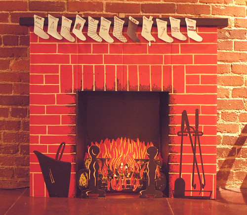 Our cardboard fireplace at my office | We put this up for ...