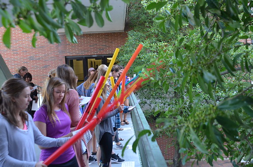 Auburn Elementary Education students play War Eagle on Boomwhackers outside Haley Center.