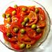 Beefsteak ripe tomatoes and olives in my garlic-dijon vinaigrette