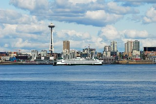 Ferry Sailing Past Space Needle | by WintrHawk