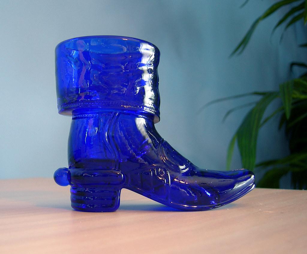 Colbalt Blue Glass Jelly Fish Candleholder