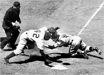 Jackie Robinson Stealing Home Plate For The Brooklyn Dodge