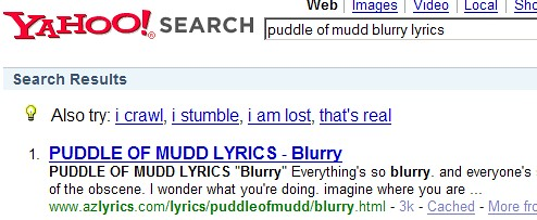 "Puddle of Mudd - ""Blurry"" Song Lyrics Search (Yahoo!) 