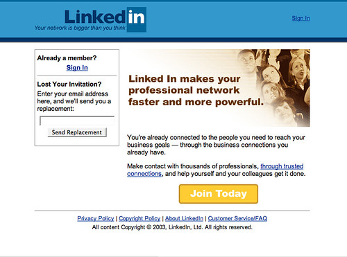 LinkedIn 1.0, May 2003 | LinkedIn home page (before sign-in ...