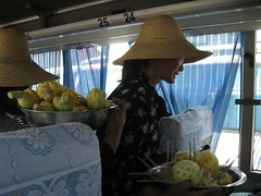 The convenient corn, pineapple and egg bus ladies.
