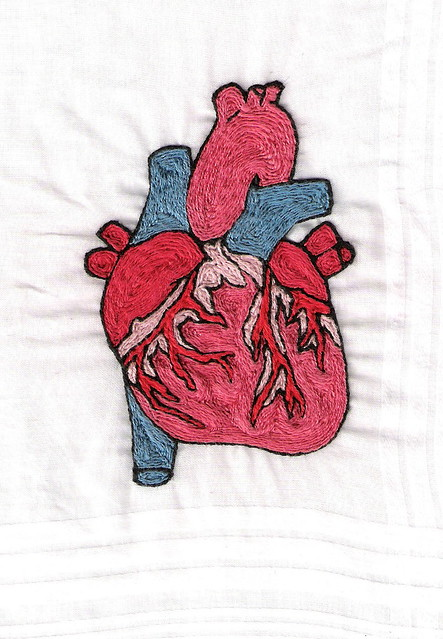 Anatomical heart hand embroidery front