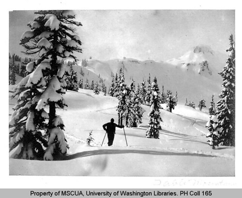 Skier in the Heather Meadows ski area near Table Mountain | by UW Digital Collections