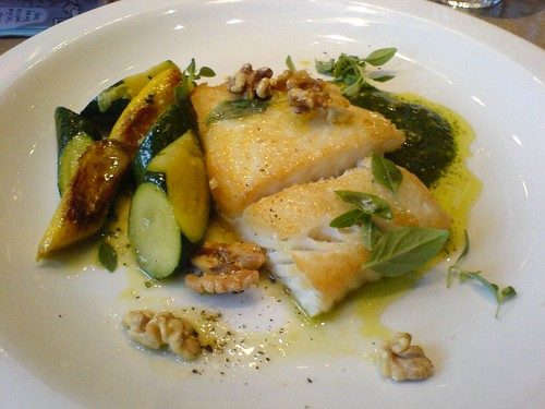 Pan-roasted halibut, zucchini, basil and walnut pesto | by clotilde
