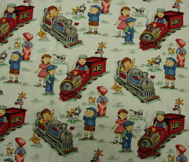 Vintage train fabric vintage inspired train fabric from for Fabric with trains pattern