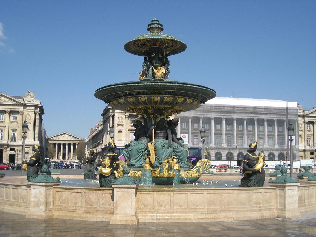 fountain with view of la madeleine and the h tel de crillo. Black Bedroom Furniture Sets. Home Design Ideas