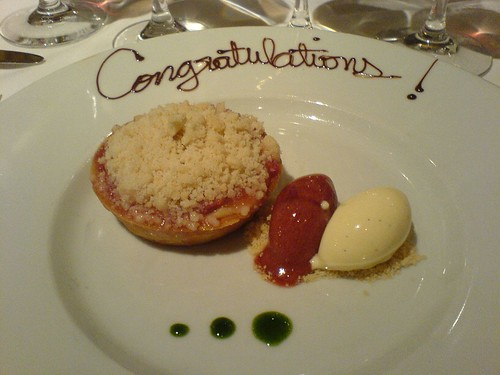 Rhubarb streusel tart with vanilla ice cream and strawberry balsamic sorbet | by clotilde