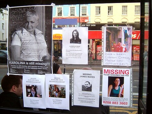 Missing person posters near Kings Cross London after ter – Missing Person Posters