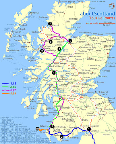 Detailed map of the Scottish part of the trip | 1