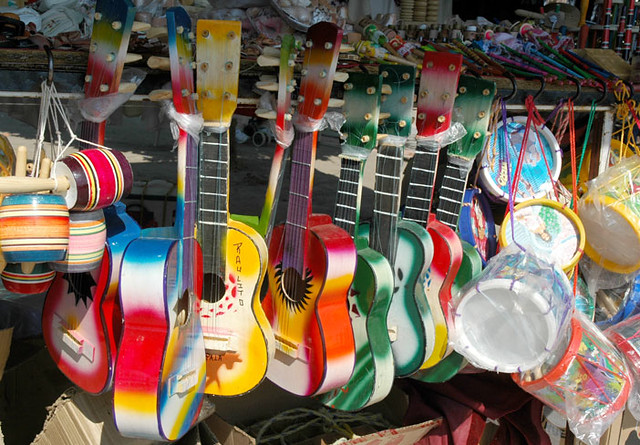 Tourist guitars for the kids, Chapala Mexico