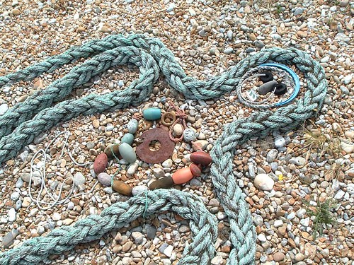 Rope figure, Dungeness garden neighbouring Derek Jarman's garden | by Bus Stop