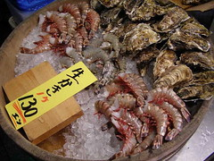 Shrimp and Oysters Nishiki Market | by JapanVisitor