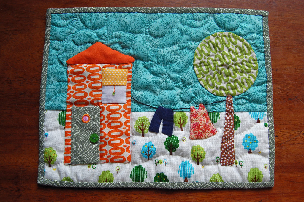 House Mini Quilt A4 Size Hand Pieced Turned Fused