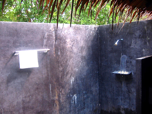 Polished Concrete Walls Of The Outdoor Bathrrom Shower Ko