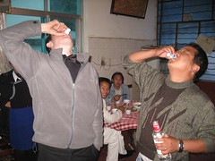 Drinking baijo (strong rice liquor) with locals. As usual.