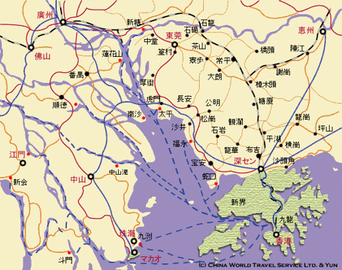 Ferry map around Hong Kong and pearl river | chinama's ...