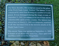 "Memorial Plaque at Battery Park, beneath ""The Sphere"" Sculpture, now a Temporary Memorial 