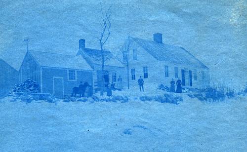 cyanotype of Maine farmstead