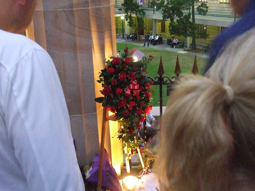 Wreath in the Shrine - 070425 Anzac Day Dawn Service, Shrine of Remembrance, Anzac Square, between Ann and Adelaide Sts, Brisbane City, Queensland, Australia | by David Jackmanson