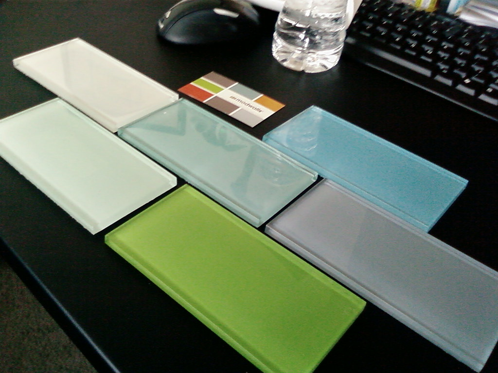 3 X 6 Glass Subway Tile Samples Colors In Notes I Think Flickr