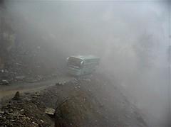 Our bus negotiates the landslide...