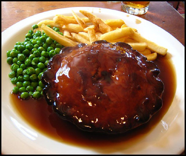 Steak and Ale Pie | with chips, peas and gravy. From ...