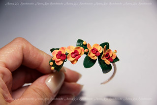Peach orchid headband | by AnnaZu