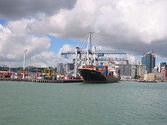 Ship in Auckland docks | by WorldIslandInfo.com