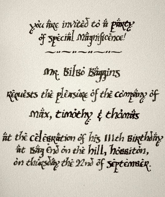 the invitation to bilbos party