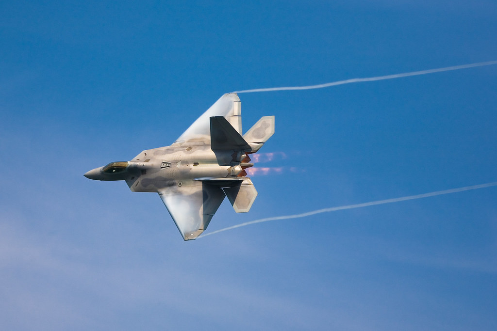 f 22 raptor afterburners and vapor trails by delta407