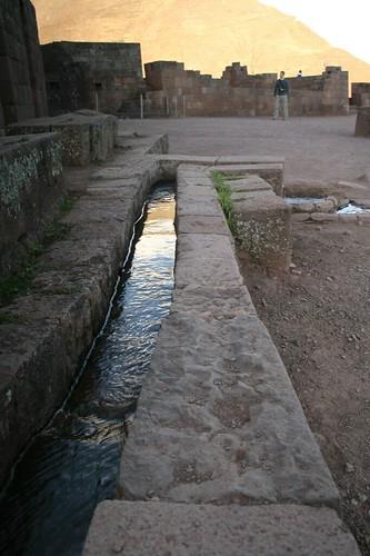 inca irrigation canal  pisaq ruins  peru