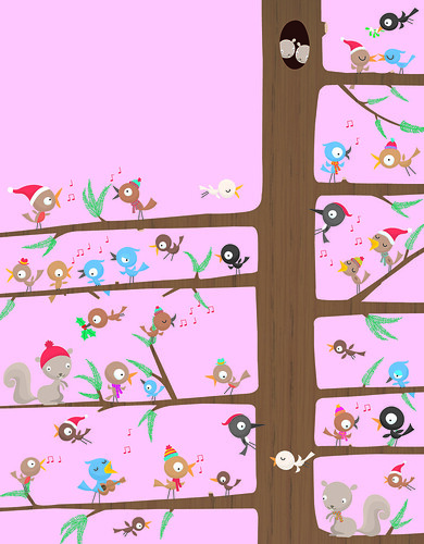 Birds singing with stickers | by Stella Baggott
