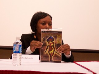 Rashida Lewis discussing the cover of her Sand Storm comic book | by M1khaela
