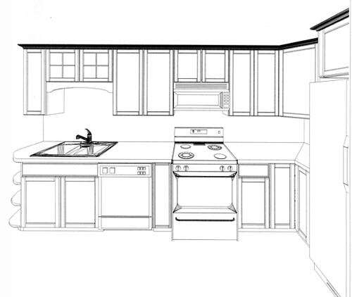 Front Elevation Kitchen : Kitchen side elevation here is the wall against