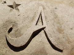 The letter A out of sand | by sculpture grrrl