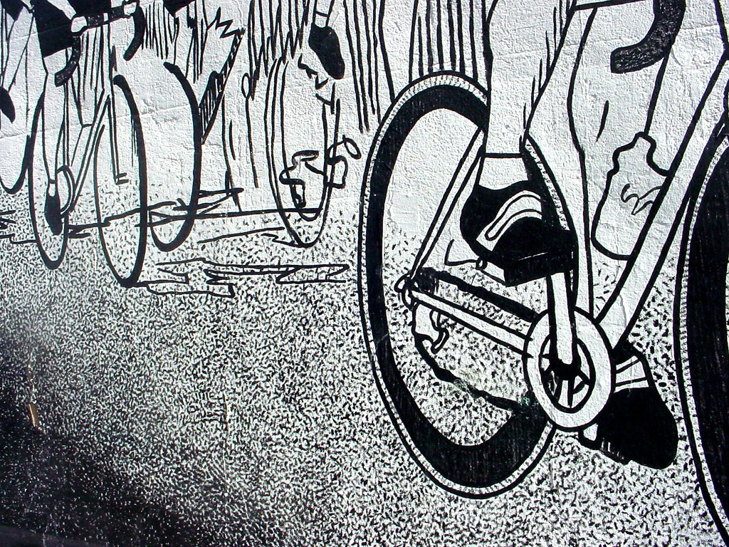 Broad street bicycling mural black and white race flickr for Black and white world map mural
