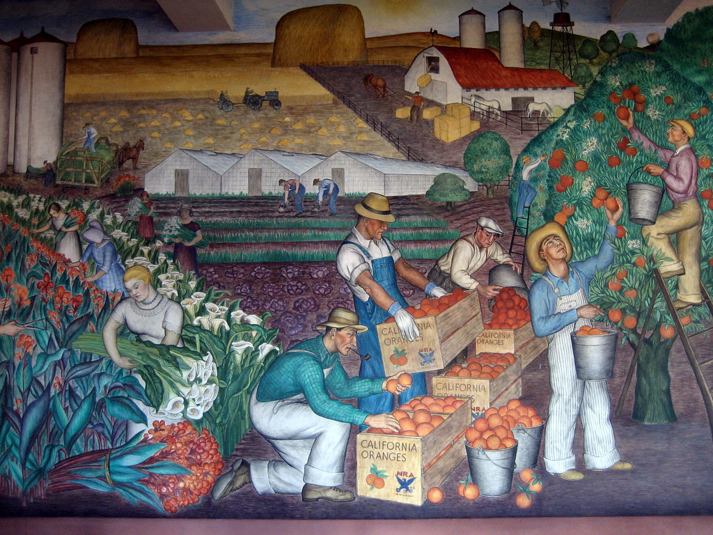 Wpa mural california in coit tower by artist maxine for Coit tower mural artists