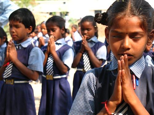Indian School Children At Morning Prayer  Curlymay  Flickr-5913
