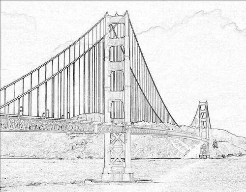 Golden Gate Bridge Line Art