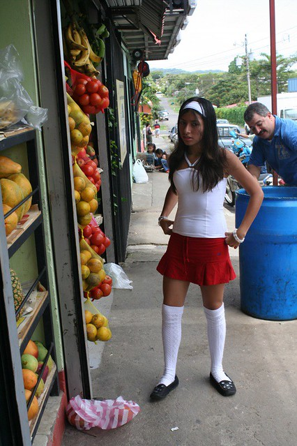Knee Sock Girl At Fruit Store Ellie Brown Flickr