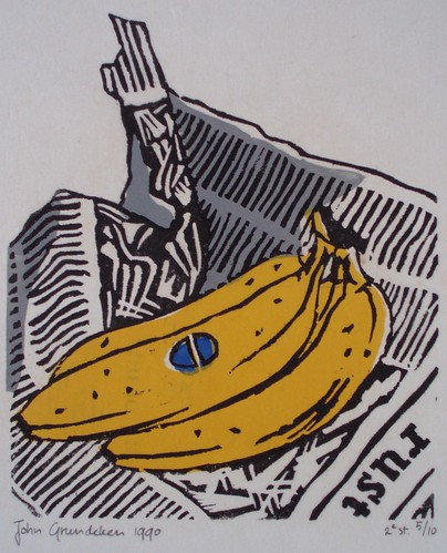 Linocut - Bananas on a newspaper - 1990 | by Jay Bee's choice