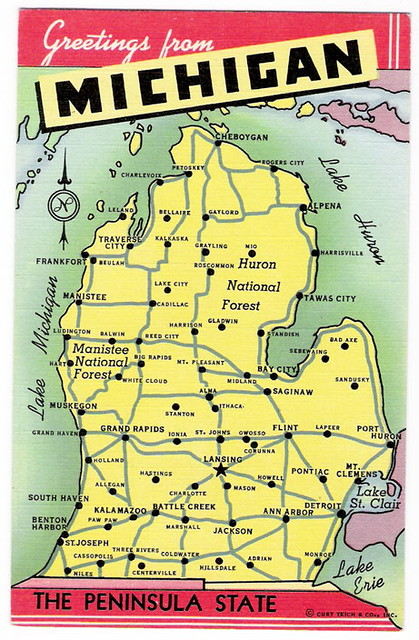 Greeting from michigan the rock roll state vintage flickr vintage map of michigan greeting from michigan the rock roll state vintage map of michigan m4hsunfo