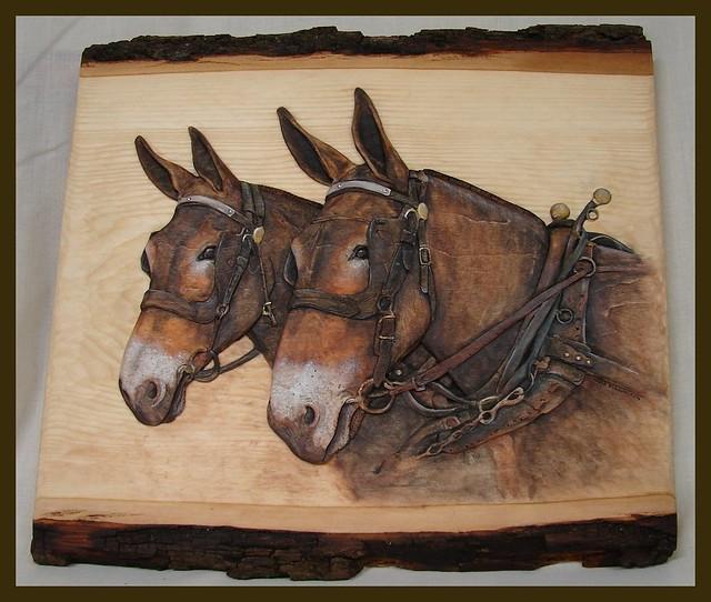 Relief wood carving mules deb bergum flickr